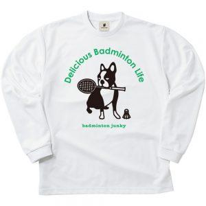 バド犬+5 ロングDryTEE (ホワイト)