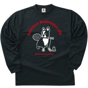 バド犬+5 ロングDryTEE (ブラック)