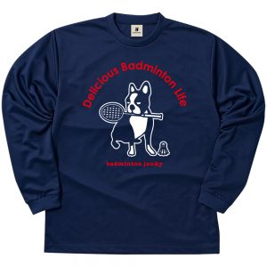 バド犬+5 ロングDryTEE (ネイビー)